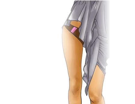 Girl legs in panties and nightie Stock Vector - 19017143