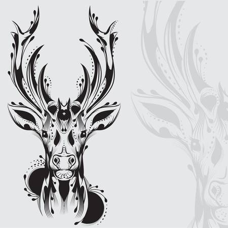 tete de cerf: Le tatouage tribal de t�te de cerf Illustration