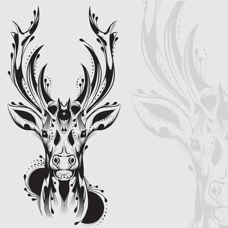 pretty head: Tribal deer head tattoo Illustration