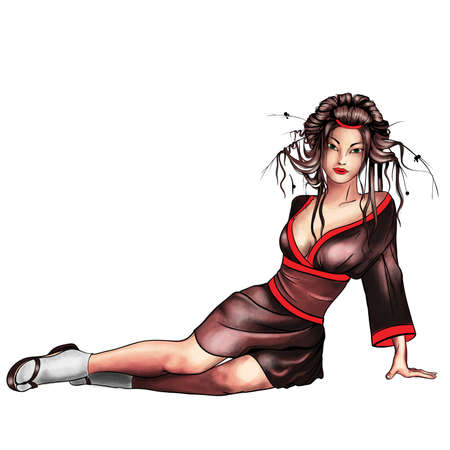 Geisha sitting isolated Vector