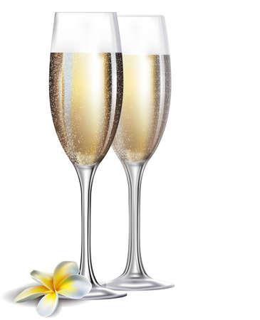 brindisi champagne: Due champagne bicchieri e fiori isolati su sfondo bianco