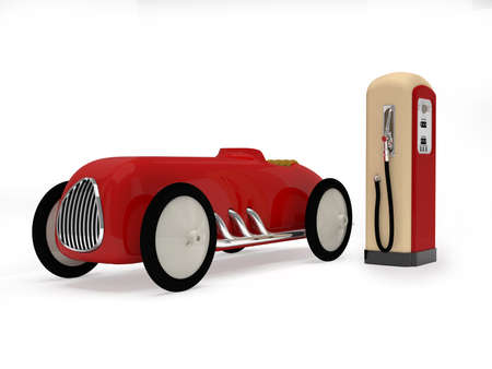 Retro toy car and  gas station Stock Photo - 19239602