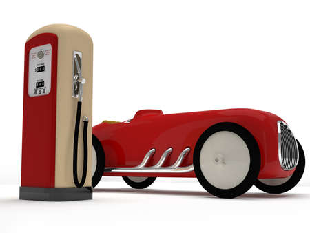 Retro toy car and  gas station Stock Photo - 19239606