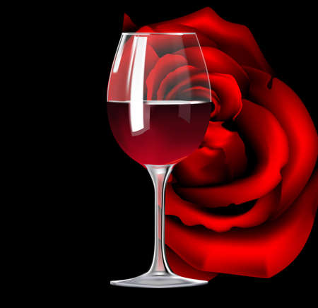 Glass of red wine and rose Vector