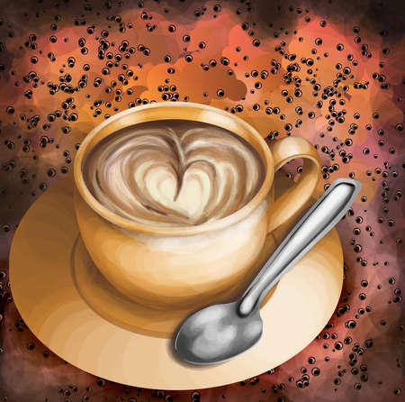 Cup of coffee on abstract colorful background Vector