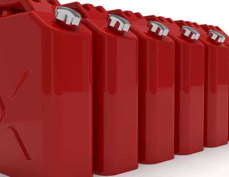 petrol can: Group of red retro jerricans