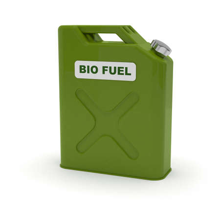 bio fuel: Green jerrycan with biofuel label