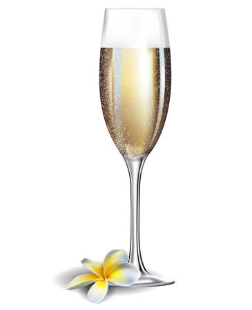 champagne celebration: Champagne glass and frangipani flover isolated