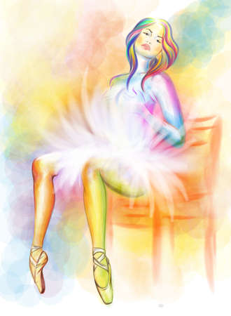 Sitting ballerina watercolor painting Vector