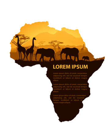 African animals silhouettes in sunset design template Illustration