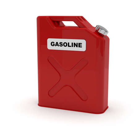 Red jerrycan with gasoline label photo