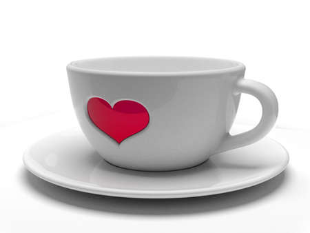 White cup with heart isolated photo