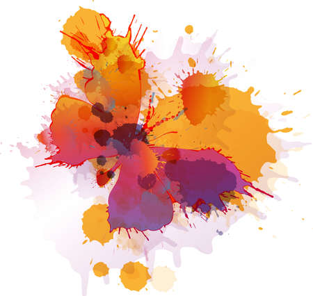 Colorful splashes butterfly on white background Vector