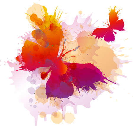 Colorful splashes butterflies on white background Vector