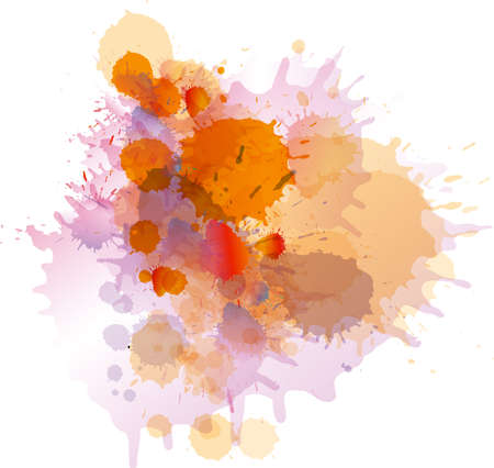 Grunge colorful paint splashes on whiite Illustration