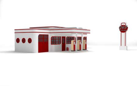 estacion de gasolina: Gasolinera Retro Foto de archivo