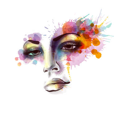 watercolour paper: Female portrait with grungy splashes Illustration