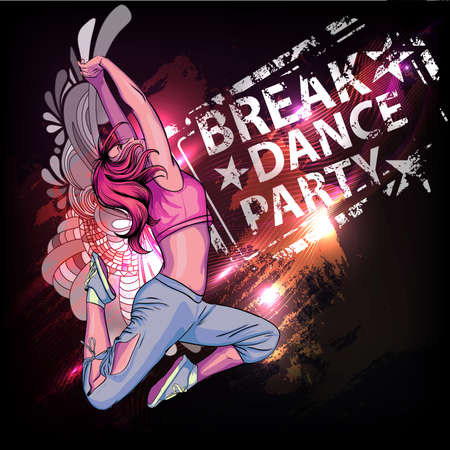 dancing people: Breake dance party poster Illustration