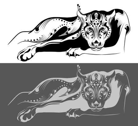 lince: Panther tatuaje tribal Vectores
