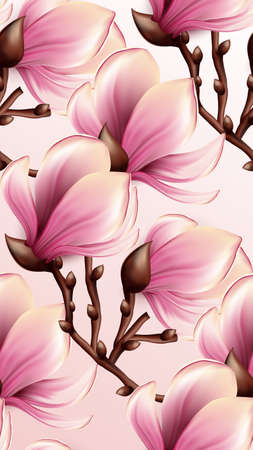 sensual: Magnolia seamless pattern Illustration