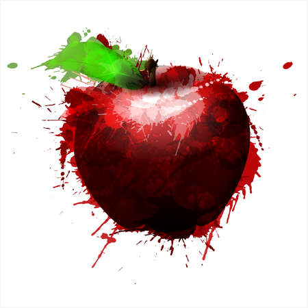 Apple made of colorful splashes on white background Vector