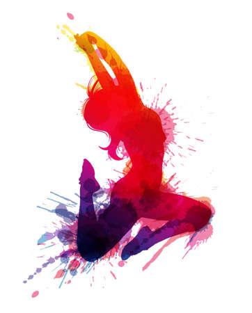 汚れた水しぶきで踊っている女の子