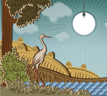 Stork in front of countryside. Illustration to fairy tale Ugly Duckling (Hans Christian Andersen). Vector