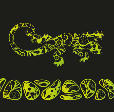 African motives floral lizard background Vector