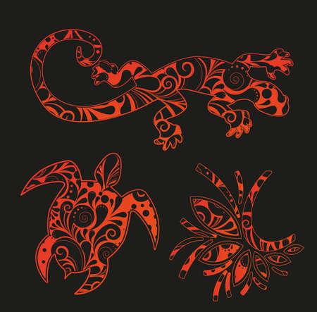 salamander: Set di elementi di design in stile africano Vettoriali