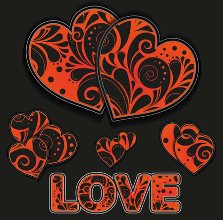 African style hearts Vector
