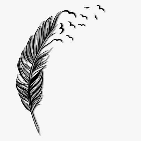 feather quill: Birds flying ot of a quill