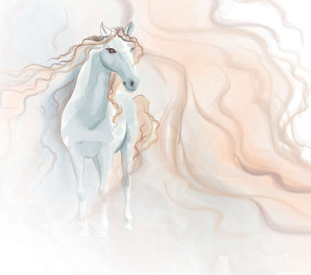 art painting: Horse watercolor painting