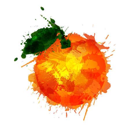 Orange  made of colorful splashes on white background
