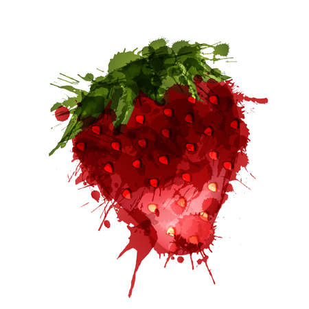 color  watercolor: Strawberry made of colorful splashes on white background