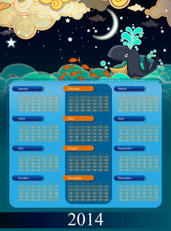 Calendar 2014 with cartoon clouds and whale Vector