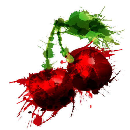 Cherry made of colorful splashes on white background  Vector