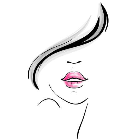 Young pretty woman portrait sketch Vector