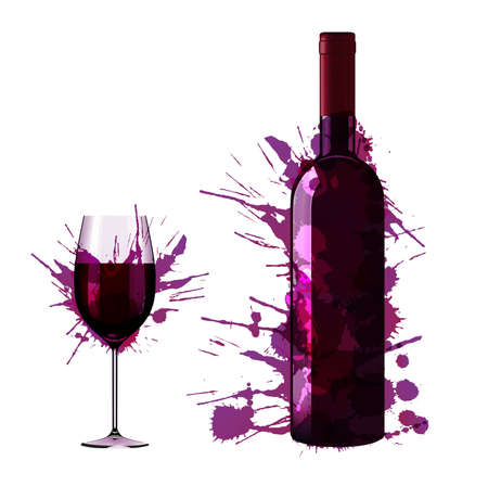 glass with red wine: Bottle and glass of wine made of colorful splashes