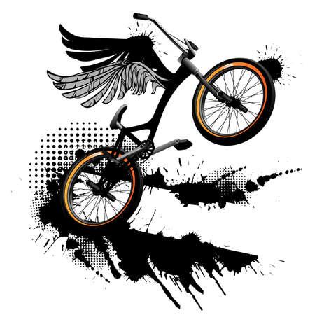 Bmx bicycle grunge background Vector