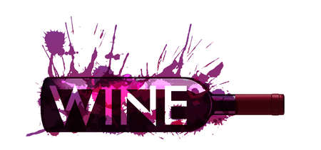 Bottiglia di vino fatto di spruzzi colorati Vettoriali