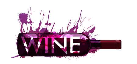Fles wijn gemaakt van kleurrijke spatten