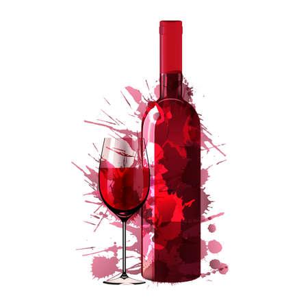 Botella y un vaso de vino de las salpicaduras de colores Foto de archivo - 21563443