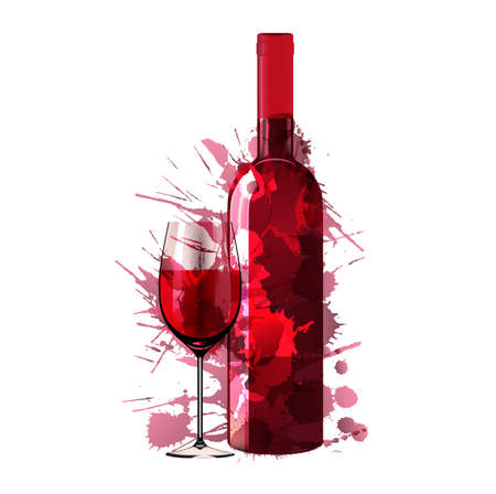wine: Bottle and glass of wine made of colorful splashes