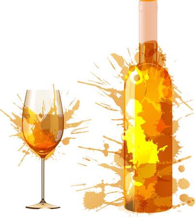 병 및 다채로운 스플래시로 만든 와인의 유리
