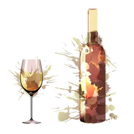 Bottiglia e bicchiere di vino fatto di spruzzi colorati