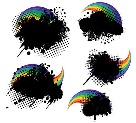 Grunge splatters and rainbows set Stock Vector - 21563455