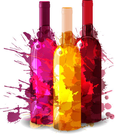 Group of wine bottles vith grunge splashes. Red, rose and white. Vector