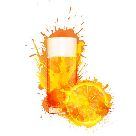 Orange slice and glass of orange juice made of colorful splashes on white background  Stock Vector - 21563501