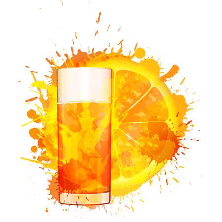orange juice glass: Orange slice and glass of orange juice made of colorful splashes on white background