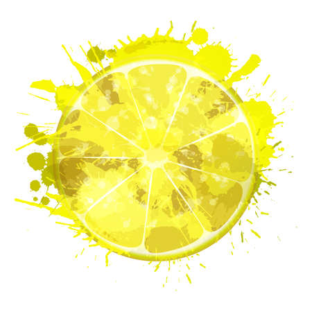 Lemon slice made of colorful splashes on white background Ilustração